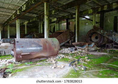 Abandoned compound feed plant near resettled village of Dronki in exclusion zone of Chernobyl nuclear power plant, Khoiniki district, Gomel region, Belarus