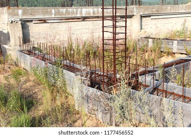 abandoned construction object. formwork for foundation