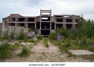 Abandoned construction site of Hospital. Abandoned at 1991,during Ukrainian undependence crisis. June 2, 2019. Kiev Region,Ukraine