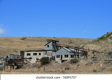 Abandoned copper mining building on Montana prairie