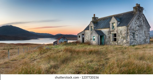 An abandoned cottage at Airidh a Bhruaich on the shores of Loch Seaforth on the Isle of Lewis in the Outer Hebrides of Scotland