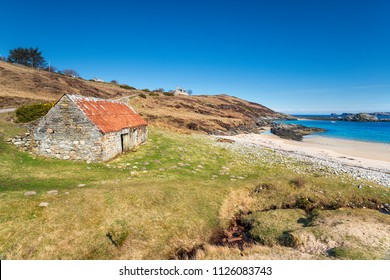 An abandoned croft on the shore at Talmine Bay on the north coast of Scotland