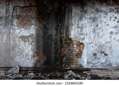 Abandoned damaged building wall