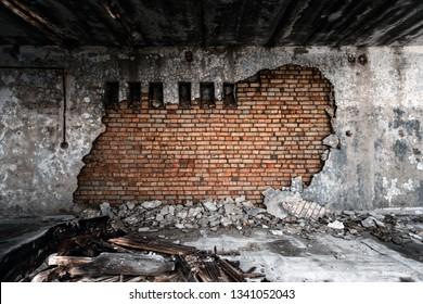 Abandoned damaged building wall closeup photo
