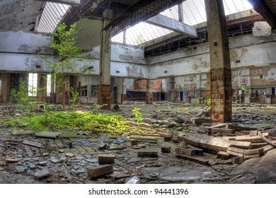 Abandoned and decaying Post Office in Gary, Indiana. Building be reclaimed by nature.