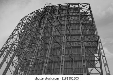 An abandoned decommissioned NATO listening post parabolic antenna.