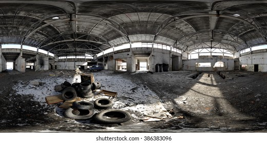 Abandoned depot. Panoramic shot with a field of view 360 across and 180 degree on a vertical.