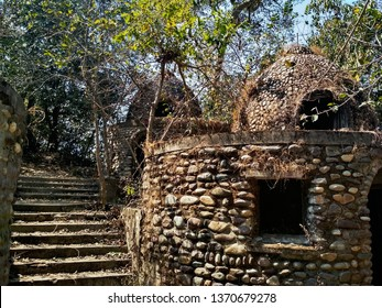 Abandoned and destroyed Maharishi Mahesh Yogi's Ashram. Typical house for one person. The territory of the former campus.