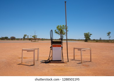 Abandoned diesel gas pump in middle of desert in central NT Australia