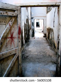 Abandoned dilapidated war prison