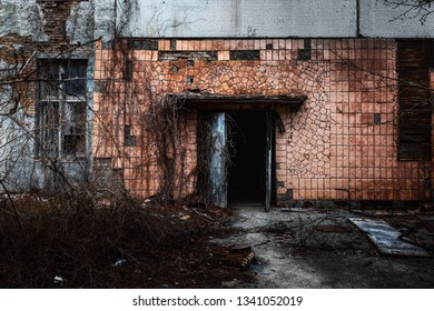 Abandoned doorway to Jupiter Factory in Chernobyl Exclusion zone 2019