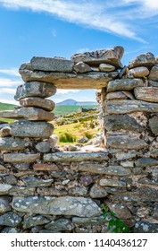 Abandoned dry stone cottage in the deserted village of Slievemore in Achill Island.