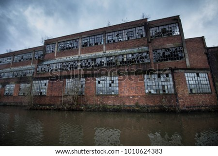 Abandoned factory with broken
