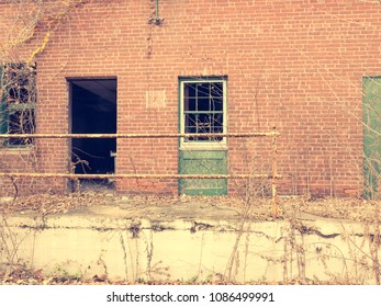 Abandoned Factory Building with retro style film look
