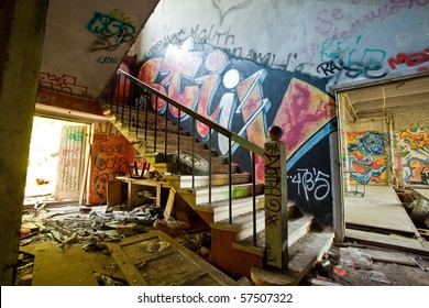 abandoned factory staircase