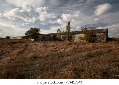 Abandoned farm outside, overgrown with grass, early autumn.
