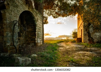 Abandoned Farm at Sunset in Apulia, Italy