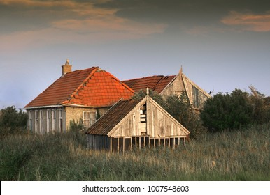 Abandoned farmhouse and agricultural building