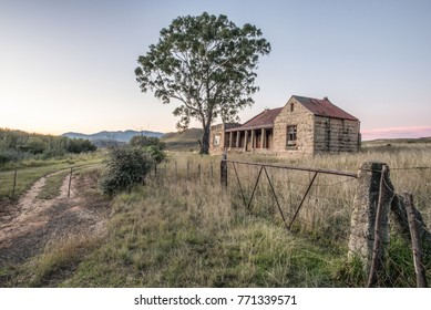An abandoned farmhouse located in an open farmland with a large tree and an old and rusted gate.