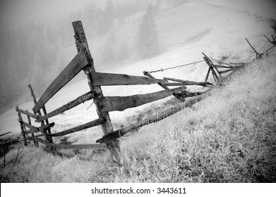 Abandoned fence in infra-red