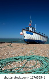 abandoned fishing trawler on beach. ship on english south coast in dungeness