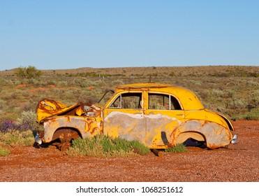 Abandoned FJ Holden car wreck in the  Australian outback.