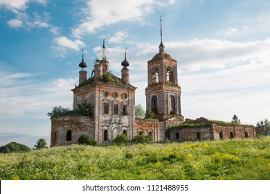 Abandoned Florus and Laurus orthodox church at Kibol village near Suzdal town. Summer view with floral meadow.