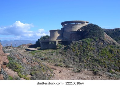 Abandoned fortifications military of Capo Altano in Portoscuso