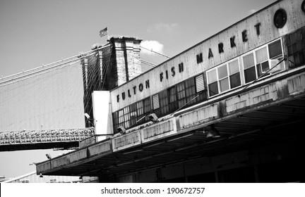 Abandoned Fulton Fish Market, NYC - B&W