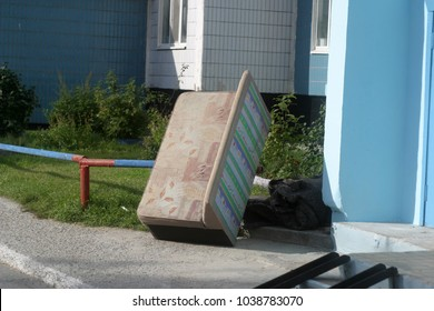 Abandoned furniture and windows. Building summer background
