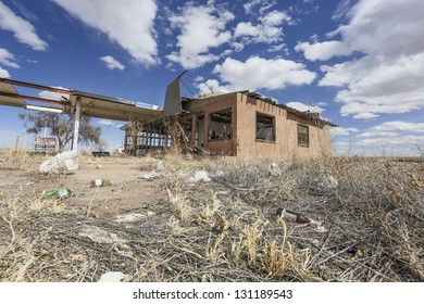 Abandoned gas station in the desert