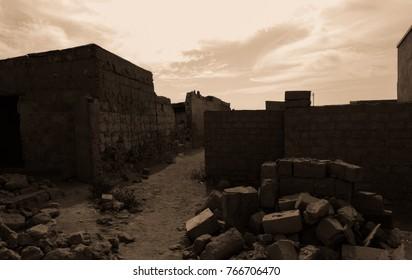 Abandoned ghost city Al Jazirah Al Hamra. Ras al-Khaimah. The oldest town in United Arab Emirates. Arabian peninsula
