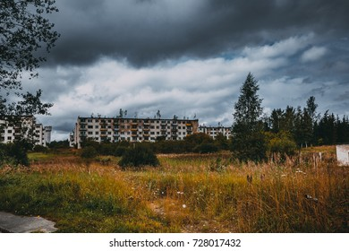 Abandoned ghost town Skrunda, Latvia. Ex Soviet legacy. Soviet type houses without windows and doors. Nuclear tragedy. No humans.