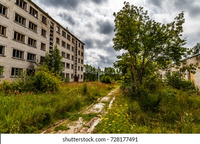 Abandoned ghost town Skrunda, Latvia. Abandoned ex Soviet buildings. Ruins of city. Ex Soviet legacy. World after nuclear disaster. No humans.