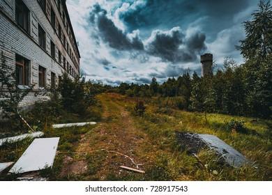 Abandoned ghost town Skrunda, Latvia. Abandoned ex Soviet buildings. Ruins of city. Ex Soviet legacy.