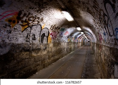 abandoned graffiti tunnel