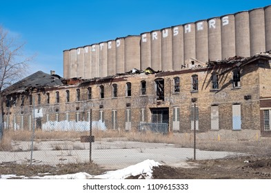 abandoned grain elevator and factory in prospect park neighborhood of minneapolis minnesota,