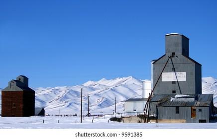 Abandoned grain elevators mark the countryside in Camas County Idaho