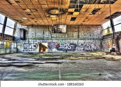Abandoned gymnasium, hdr processing