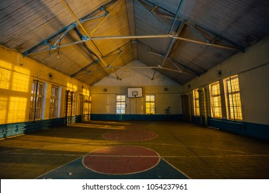 Abandoned gymnasium in abandoned school in Voronezh