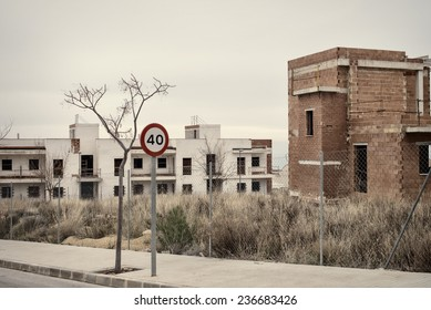 Abandoned half finished housing project, a result of the real estate bubble