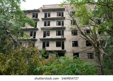 Abandoned high-rise building in the Chernobyl region. Eviction from apartments. Eviction of the local population.