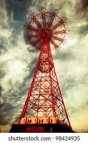 Abandoned historic landmark, Parachute jump, from Brooklyn's Coney Island.