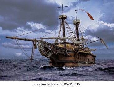 Abandoned historic sailing ship in the stormy sea. Wooden sailboat sails in a storm at sea.  A mysterious boat in stormy ocean waves.