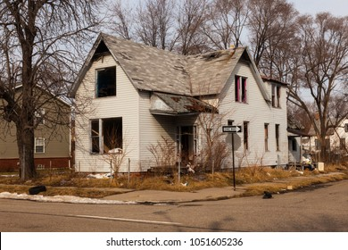 Abandoned Home in Detroit, Michigan. This is a deserted building in a bad part of town.