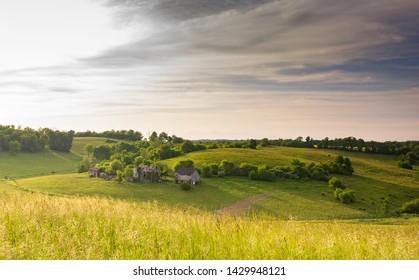 Abandoned homestead farm on a hillside in rural Appalachia