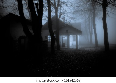 Abandoned Horror House in the Misty Forest
