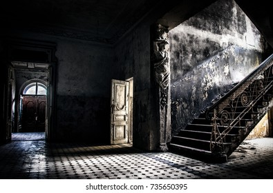 Abandoned hospital doors and stairs