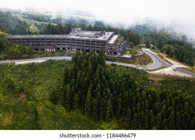 Abandoned hotel building in Sete Cidades on San Miguel island, Azores, Portugal.