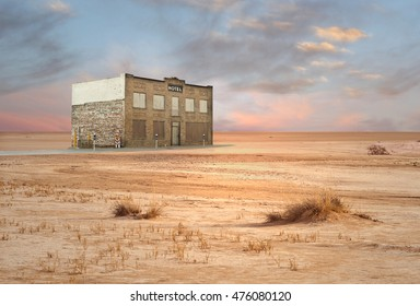 Abandoned Hotel in Desert